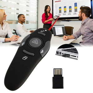 Wireless Presenter with Laser Pointers USB Powerpoint Presenter Remote Mouse For Computer power