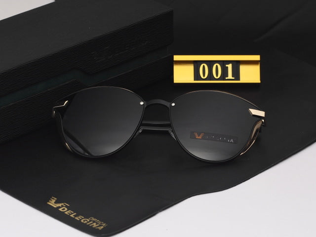 DELEGINA Fashion Female Polarized Sunglasses Women Cat Eye Glases Ladies Sun Glasses Mirror With box