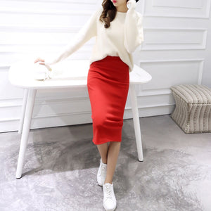 Women Solid Elegant Sexy Split Slim Skirts Hight Waist Kintting Cotton Ladies Summer Skirts Mid-Calf Bodycon Pencil Skirt Saia