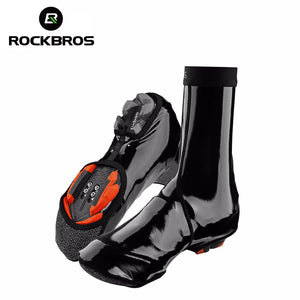 ROCKBROS Bike Shoe Covers Winter Windproof MTB Bike Equipment Waterproof Overshoes Cycling Winter Warmer Boot Cover 2 Size