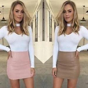 Women Ladies Sexy Bandge High Waist Leather Pencil Bodycon Hip SolidShort Mini Skirts Pink Brown