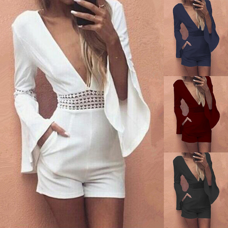 494a9aaca42 Women Summer White Short Sexy Rompers Jumpsuit Deep V Neck Long Flare Sleeve  Beach Party Playsuits