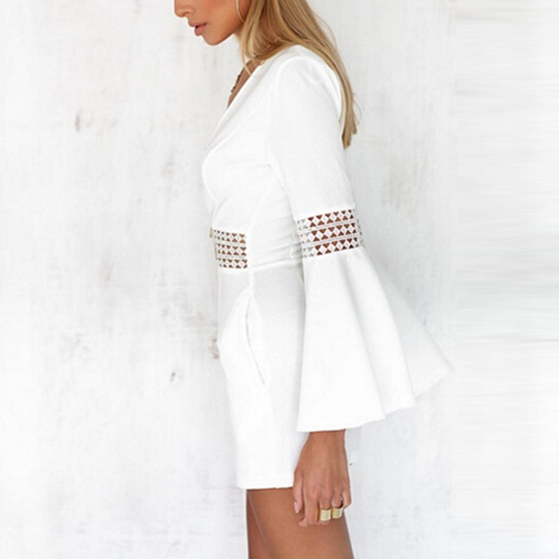 c757cb27da08 Women Summer White Short Sexy Rompers Jumpsuit Deep V Neck Long Flare Sleeve  Beach Party Playsuits