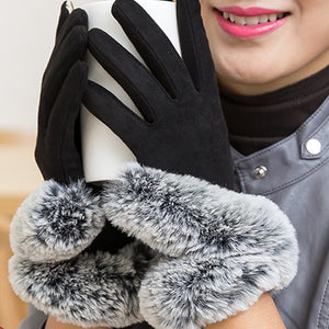 New Autumn Elegant Winter Gloves Women Cotton Gloves Mittens Real Rabbit Fur Pompom Touch Screen Driver's Gloves