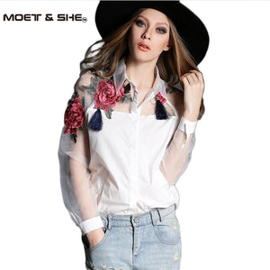 Women White Blusas Feminina Organza Flower Embroidery Mesh Hollow out Long Sleeve Shirt Blouse Clothes Tops Plus Size