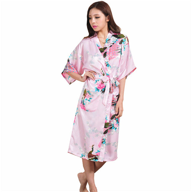 44a3e0655e Plus Size XXXL Blue Chinese Female Silk Rayon Robe Kimono Night Gown  Printed Peacock Floral Sleepwear pijamas