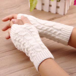 women gloves Stylish hand warmer winter gloves women Arm Crochet Knitting faux Wool Mitten warm Fingerless Gloves,gants femme