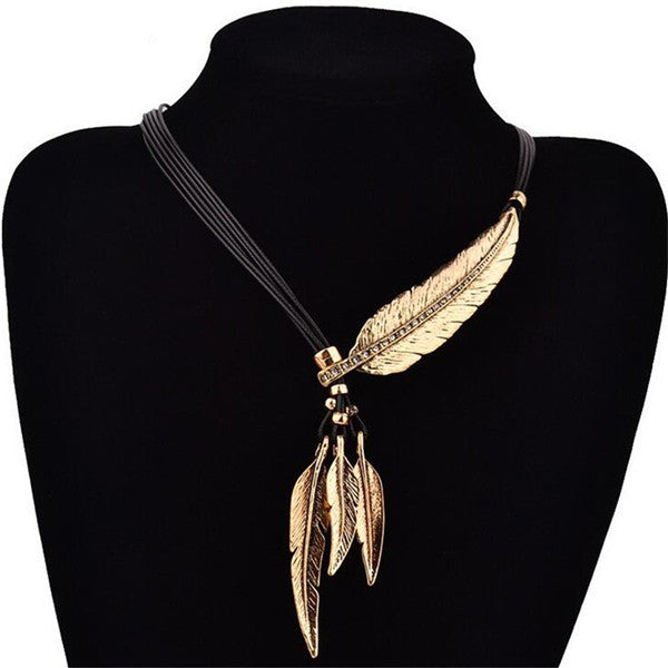 Collier Femme Feather Necklaces & Pendants Rope Leather Vintage Maxi Colar For Statement Necklace