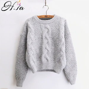 H.SA Women Sweaters Warm Pullover and Jumpers Crewneck Mohair Pullover Twist Pull Jumpers Autumn