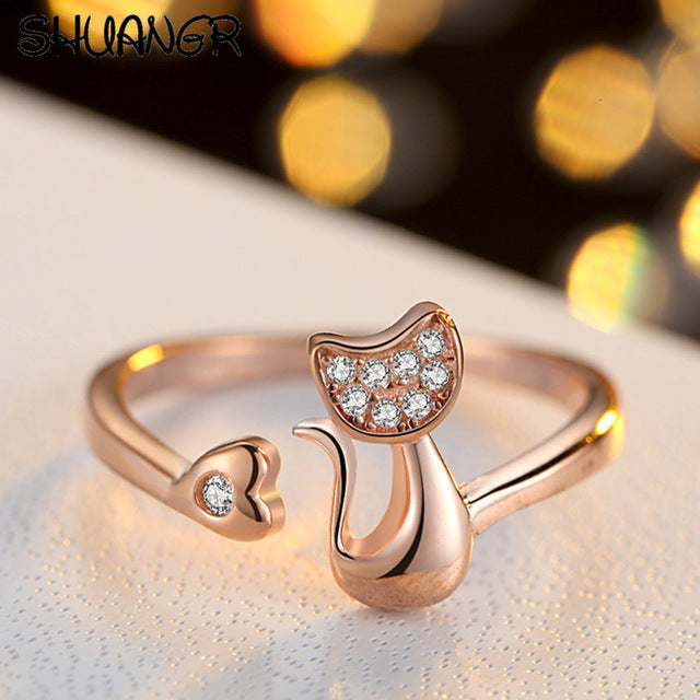Charm Crystal Top Quality Cubic Zirconia Crystal Inlaid Cute Animal Cat Ring for Women/Girls