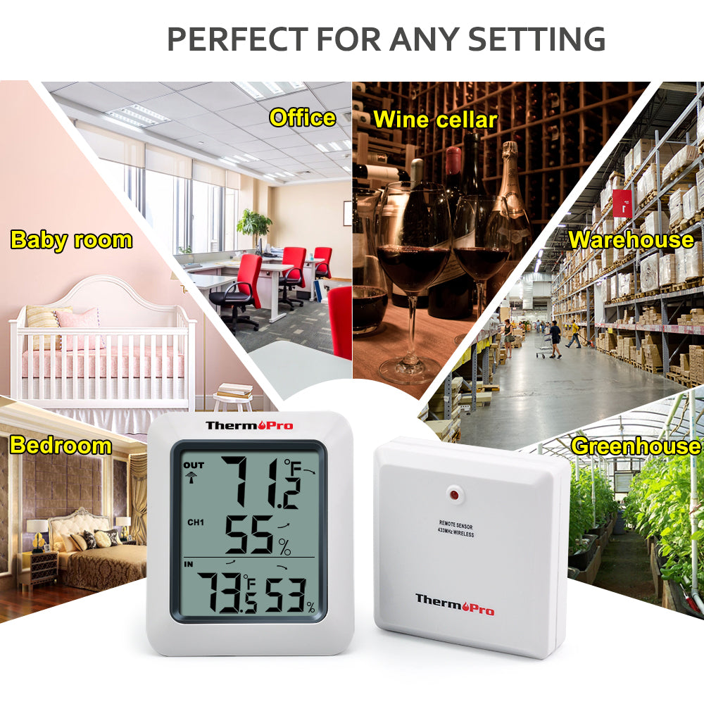 Thermopro Tp60 60m Wireless Digital Hygrometer Indoor Outdoor Thermometer Humidity Monitor With Temperature Gauge Meter