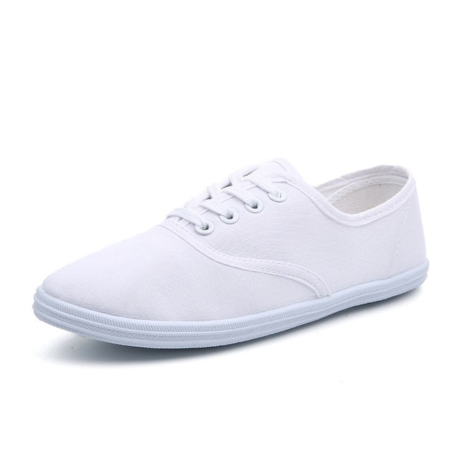 Women Canvas Shoes Breathable Fashion Brand Women Flat Shoes Woman Sneakers White shoes Plus Size