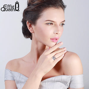 Effie Queen 15mm Big 3 Layers Rings 316L Stainless Steel Zircon Female Ring Wedding Engagement Jewelry Fashion IR86