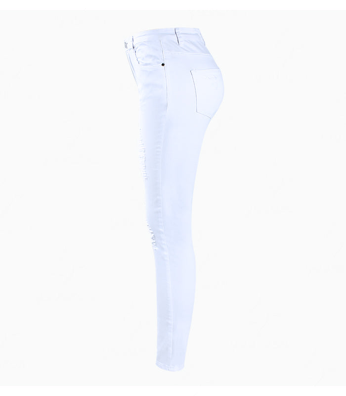 8365d2b9183 Youaxon Women`s Distressed Curvy White Mid High Waist Stretch Denim Pants  Ripped Skinny Jeans