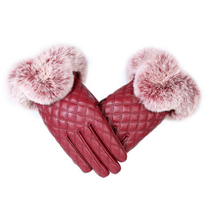 Fashion Women Warm Thick Winter Gloves Leather Elegant Girls Brand Mittens Free Size With Rabbit Fur Female Gloves
