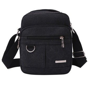 Fashion Canvas Men Zipper High Quality Crossbody Bag Black Khaki Brown Handbag Men Bag