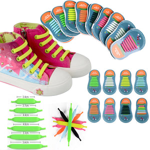 12pcs/lots Kids No Tie Shoelaces for All Sneakers Running Athletic Shoelace Girls Boys Children Elastic Silicone Shoe Lace 11 11