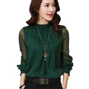 Fashion Spring Autumn Chiffon Blouse New Korean Casual Ruffle Collar Shirt Long Sleeve Women Shirts Tops Plus Size Blusas