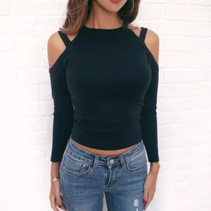 Spring Fashion Loose Strapless t-shirts For Women Casual long Sleeve O-neck Woman's t shirts Sexy Tees Basic Crop Top