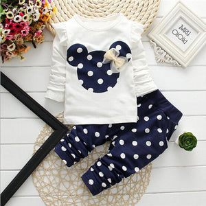 new Spring children girls clothing sets mouse early autumn clothes bow tops t shirt leggings pants baby kids 2 pcs suit