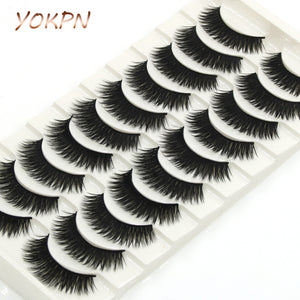 YOKPN Thick False Eyelashes Handmade Black Terrier Cross Exaggerated Eye Lashes Fashion Ball Smoke