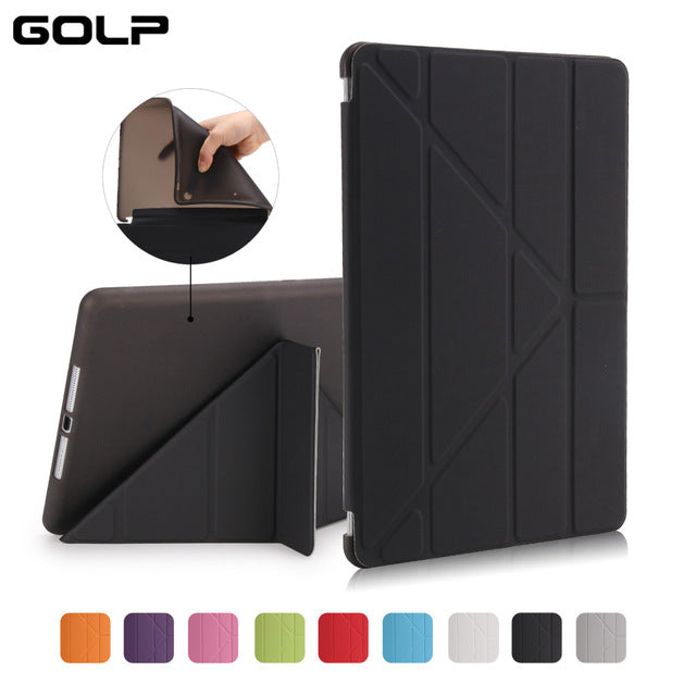 Case Cover for iPad 9.7 , GOLP PU Leather Magentic Smart Cover Soft TPU Back Protective Case for