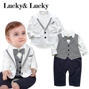 Voguish Boutiqu newborn clothing set bebes baby boy clothes baby rompers+ coat with tie