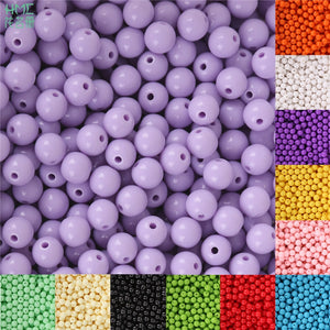 8mm 100pcs Plastic Acrylic Beads Smooth Round Loose Spacer Beads Crafts Decoration for DIY Bracelets