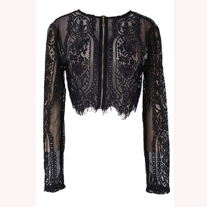 spring summer Black lace women tops hollow out shirt long sleeve blouse sexy lady OL office lady