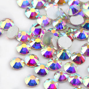 Glitter Rhinestones Crystal AB SS3-SS40 Non Hot Fix FlatBack Strass Sewing & Fabric Garment