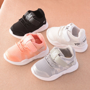 autumn new fashionable net breathable pink leisure sports running shoes for girls white shoes for