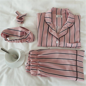 Summer New Fashion Women Pajamas Turn-down Collar Sleepwear 2 Two Piece Set Shirt+Shorts Striped Casual Pajama Set
