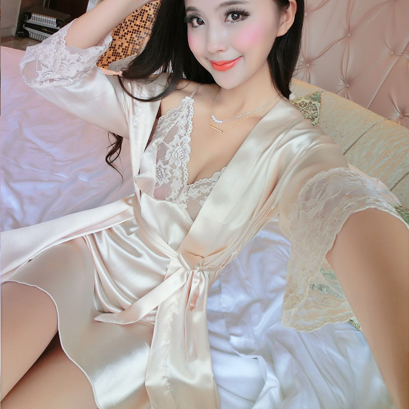 29a5705a34 Summer Women Long Sleeve Silk Sleepwear Nightgown Set Temptation Sexy Robe  Nightdress Two Piece Lady Cute