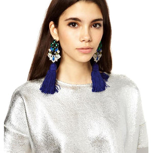 JUJIA New Wedding Tassel Statement Earring Multicolored Fashion Dangle Fringe Earrings