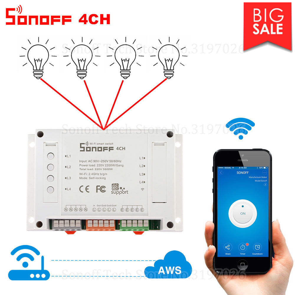 Itead Sonoff Wifi Smart Switch 4 Gang Wifi Light Switch Smart Home App Remote Interrupter Relay