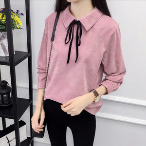 Autumn Long Sleeve Women Shirt Preppy Style Bow Woman Shirt Corduroy Plus Thick Solid Color Women Blouses Turn-Down Collar Top