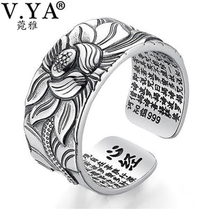 V.YA 100% Real 999 Pure Silver Jewelry Lotus Flower Open Ring For Men Male Fashion Free Size
