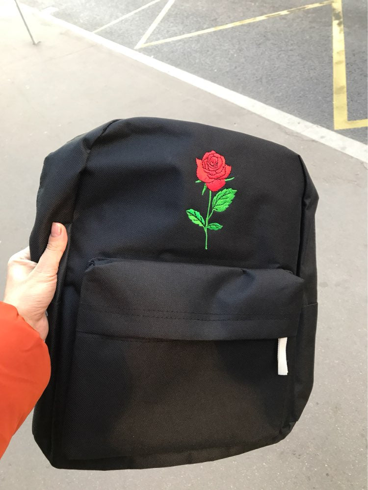 04edc08efa07 Men Heart Canvas Backpack Cute Women Rose Embroidery Backpacks for Teenagers  Women s Travel Bags Mochilas Rucksack