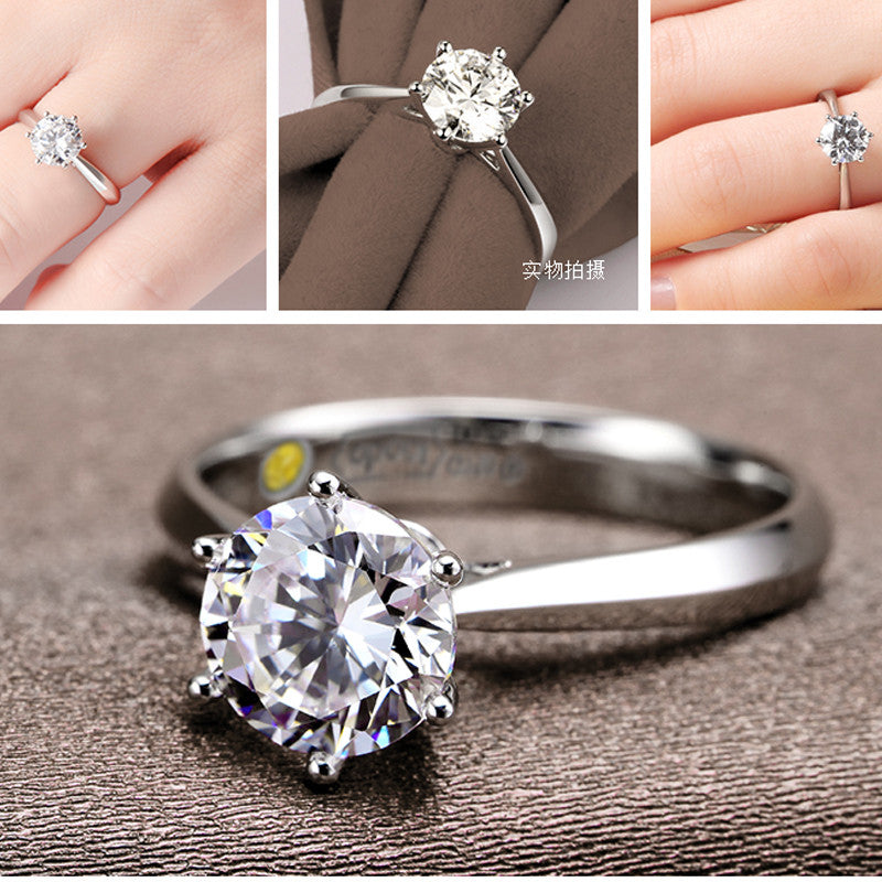 I Romantic Classic Round Cubic Zirconia 925 Sterling Silver Finger Rings for Women Wedding Jewelry