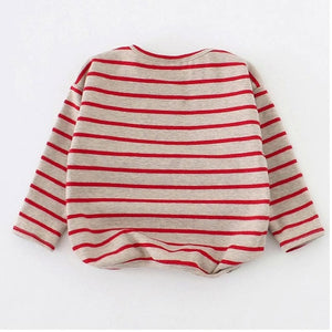 9M-3T Spring autumn Baby Girls Boys Shirt Long Sleeve Stripe Tops Soft cotton Toddler Kids T-Shirt