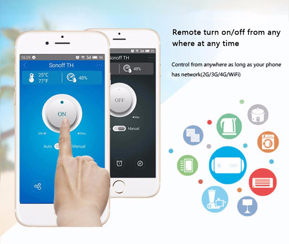 Itead Sonoff TH16 Wifi Smart Switch Support Temperature And Humidity  Monitoring WiFi Smart Home Wireless Switch Works With Alexa