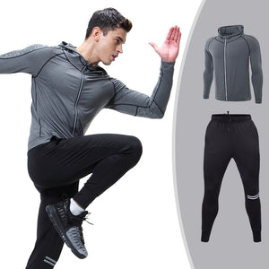 Men's Sportswear Running Set Sports Set jogging Suits Clothes Tracksuit Zipper Coat And Pants Gym