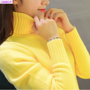 2018 New Autumn winter Women Knitted Sweaters Pullovers Turtleneck Long Sleeve Solid Color Slim