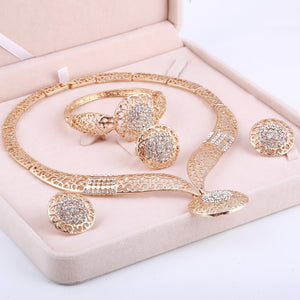 Dubai Gold Jewelry Sets Nigerian Wedding African Beads Crystal Bridal Jewellery Set Rhinestone