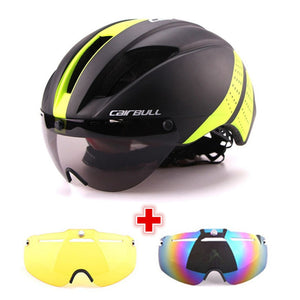 3 Lens 280g Aero Goggles Bicycle Helmet Road Bike Sports Safety In-Mold Helmet Riding Mens Speed