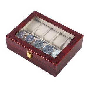 10 Grids Wooden Watch Box Collection Storage Durable Home Gift For Display Holder Case Organizer