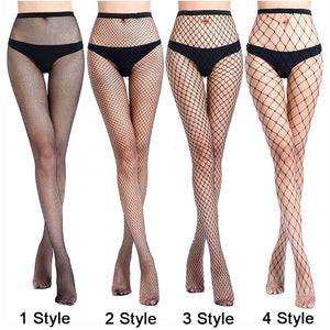 Women Sexy Transparent Slim Fishnet Pantyhose Club Party Net Holes Black Tights Thigh High Stockings