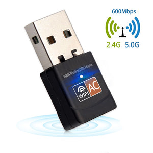 600Mbps USB WiFi Adapter 2.4GHz 5GHz WiFi Antenna PC Mini Wireless Computer Network Card Receiver