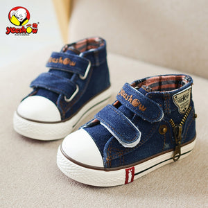 Spring Children Canvas Shoes Boys Fashion Sneakers Kids Casual Zipper Shoes Girls Jeans Denim Flat