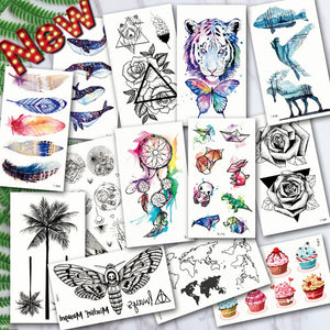 Waterproof Temporary Tattoos ocean feather Wave Mountain flash glitte Tattoo stickers body art for